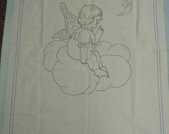 """Vintage Fairy Crib Sheet: Fairy girl hand embroidered vintage cotton coverlet/crib sheet  with blue border 1930's  33"""" x 48"""""""