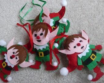 Santa's elves x 4 felt Christmas tree decorations holidays