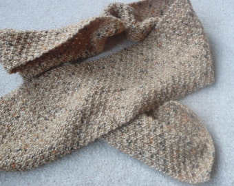 SALE 50% off Hand knitted textured tan flecked acrylic wool scarf unisex