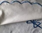 White Cotton Pique Scalloped Twin Spread and Matching Sheet With a Border of Blue Appliqued Bows