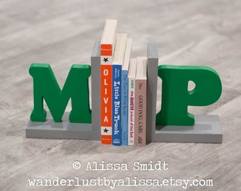 Initial Bookends, Letter Bookends, Green and Grey Gray Wooden Custom Bookends - Custom Created  (alphabet bookends, name bookends)