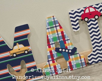 Trucks Airplanes Brody Nursery Letters - Custom Nursery Wooden Letters - Transportation Theme (baby boy nursery, car, truck, navy, red)