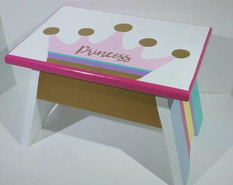 Princess Crown Nursery - Girl Step Stool - Step Stool for Kids - Toddlers Step Stool - Gold and Pastel - Kids Step Stool - DREAMATHEME