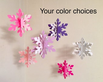 Winter ONEderland Decorations - Little Snowflake Decorations - Frozen Themed Birthday Garland - Snowflake Garland- your color choice
