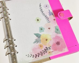 SALE A5 Size Watercolor Pink Blush Teal Yellow Orange Purple Pastel Green Floral Laminated Dashboard Filofax Large Kikkik A5 Filofax Planner