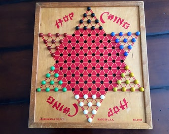 Rustic Wooden Hop Ching Chinese Checkers Board and Glass Marbles Game Room Family Room Man Cave Summer Cabin or Kids Room Decor