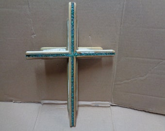 Reclaimed Barn wood layered double Wooden Cross with amazonite gemstone