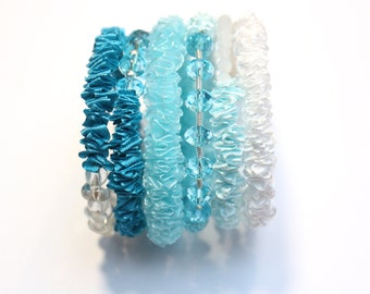 Chunky different shades of BLUE Ribbon memory wire Bracelet