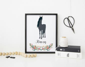 Personalised A4 Horse Art Print, horse, horse art print, ideal gift for horse lovers, FREE UK POSTAGE!