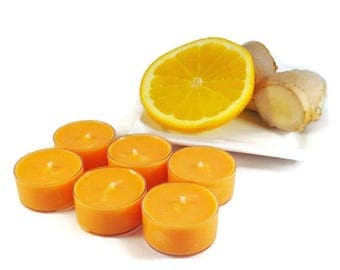 Orange Ginger Soy Tea Light Candles - Set of 6 - Scented Handmade Hand-Poured Vegan Soy Wax Candle Tealights