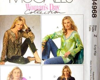 Supplies Pattern Womens Tunics Tops Blouses L-XL McCalls M4968