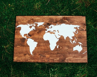 World wood map etsy large wooden world map wood sign pallet decoration family room living room customize gumiabroncs Image collections