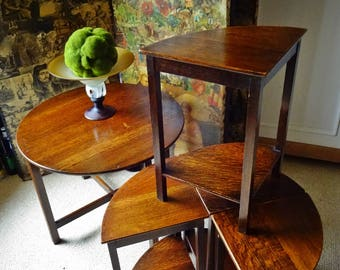 Vintage Furniture,Coffee Table, Vintage Nest Of Tables, 5 Tables in All, 1920's -40's Dark Oak, Arts & Crafts Movement, Art Deco Style.