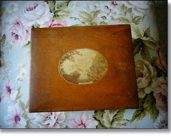 Victorian Box, Mauchline Ware Trinket Box, Scottish Antique, Elm Wood Photo Box