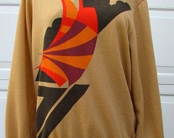 vintage 70s mod abstract pullover top m edwards of california