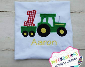 Birthday Shirt Tractor with Trailer
