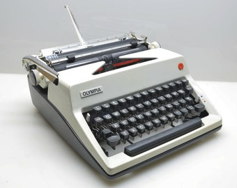 1971 Olympia Monica Portable Typewriter, Superb Working Condition in Case, NEW Ribbon, West Germany, Two-Tone White and Gray, Typing Author