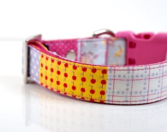 Girly Floral Patchwork Dog Collar - Pink, yelow, red, purple