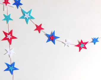 Red, White and Blue Stars Garland Hang Vertically or Horizontally
