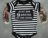 Baby Tattoo Sleeve Shirt - Baby Tattoo Sleeve - Punk Baby Clothes - Temporary Tattoo Sleeve - 9 Months Inside - Funny Baby Boy Gift -