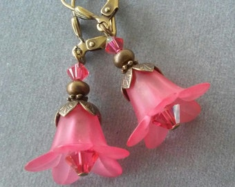 Salmon Pink Lucite Flower and Swarovski Crystal Earrings