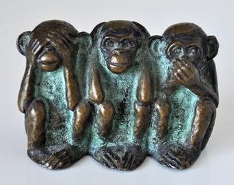 Vintage Brass Monkeys See No Evil Hear No Evil Speak No Evil