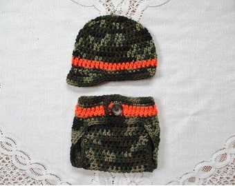 Camoflauge Crochet Newsboy Hat and Diaper Cover - Hunting or Military Hat - Photo Prop - Available in Any Size or Color Combination