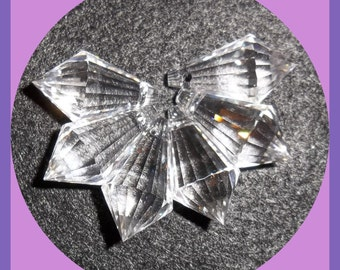 Chandelier Crystal Clear 20 x 11 mm Prism Glass Faceted Cut Glass Set 6
