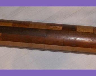 Vintage ROLLING PIN Hand Lathe Turned Hardwood Multi Wood 19 Inch