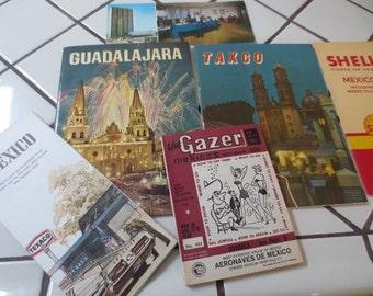 Vintage MEXICO Paper Ephemera Travel Brochures Texaco Map Tourist Travel Postcard Gazar Magazine Lot of 6