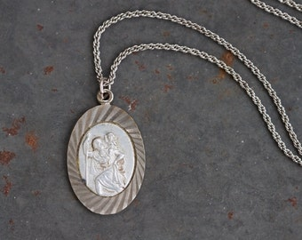 St Christopher Medallion Necklace - Silver Toned with Patina - Religious Icon