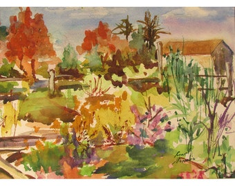 A Late Fall New Jersey Garden - 9 by 12 inch watercolor