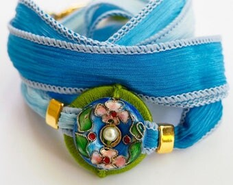 Sky Cloisonné, Whirly Wrap, Wrap Bracelet, Silk Ribbon, stunning Cloisonné button, pearl, Sky Blue Silk, secure magnet, easy on,
