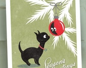 HOLIDAY SALE Seasons Greetings - Christmas Card Set of 10 - Christmas Kitty - Seasons Greetings