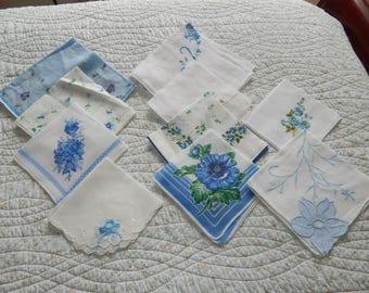Vintage Lot Blue Ladies Hankies Linen Handkerchiefs