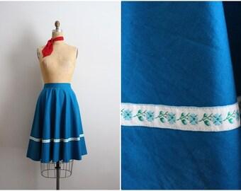 50s Turquoise Skirt / Floral Skirt/ Summer Skirt/ Size XS/S