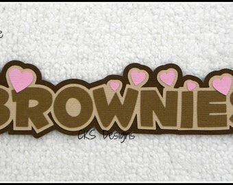 Die Cut BROWNIES Girl Scouts TITLE Scrapbook Page Embellishments for Card Making Scrapbook or Paper Crafts