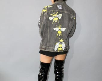 Killer Bae hand painted denim jacket with bees and flowers Unisex