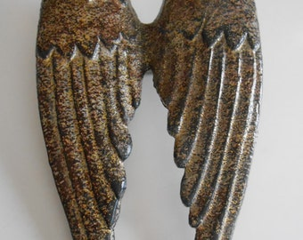 Gold Glittered Angel Wings / Symbolic Angel Wings / Home Decor / Home And Living / Distressed Angel Wings / Bedroom Decor / Shabby Gold Wing
