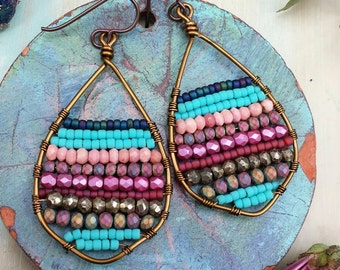 Beaded Abstract Earrings, Pink Opal, Pyrite, Crystals, Glass Beads, One-of-a-kind
