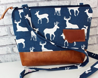 BRI Large Messenger Bag Navy Deer with Montana Patch - READY to SHIP