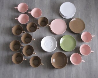 Vintage Pink, White, Brown and Green Melmac - coffee cups, saucers, plates and bowls