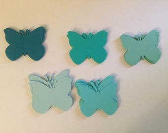 50 Shades of Blue Green Large 2 Inch Paper Butterfly Punch Die cuts Cutout Confetti Embellishments Scrapbooking