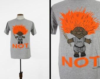Vintage Black Troll Doll T-shirt NOT Dude 90s Neon Orange Rare Grey Baseball Tee - Large