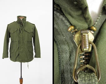 Vintage M-1951 Field Jacket US Army Coat Military Olive Drab Green - Size Small