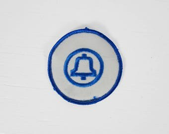Vintage Bell System Patch Telephone Company Round Blue Phone 3 Inch