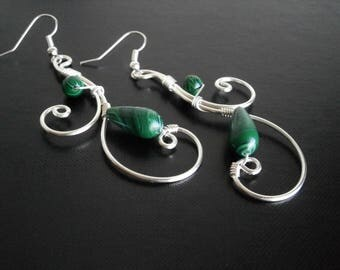 Malachite Earrings, Silver Earrings, Wire Earrings, Wire Wrapped Jewelry, Handmade Jewelry