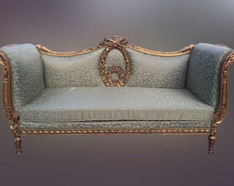 French Antique Sofa and Two Bergery Chairs