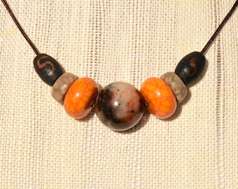 Antique Vintage Jade Round Bead Choker Necklace with Ancient and Antique Jade and Tibetan Agate Dzi Beads by NeoWare
