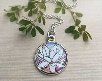 LOTUS FLOWER NECKLACE | Purple Lotus Pendant